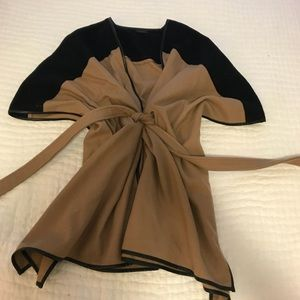 Tan and Black Cape with leather piping